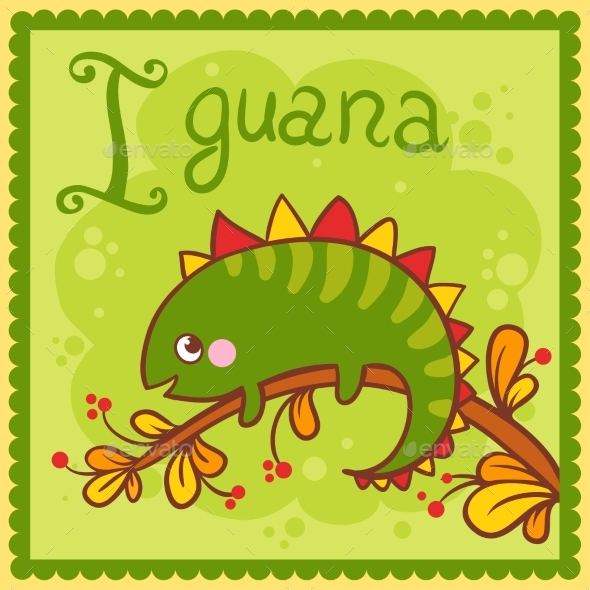 Illustrated Alphabet Letter I and Iguana - Animals Characters