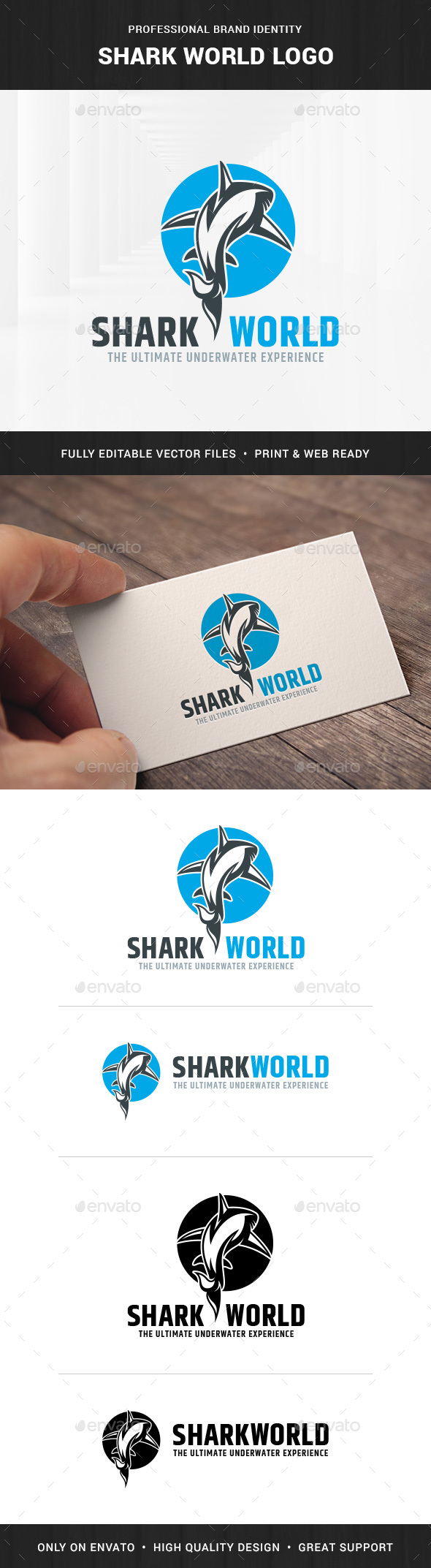 GraphicRiver Shark World Logo Template 20674098