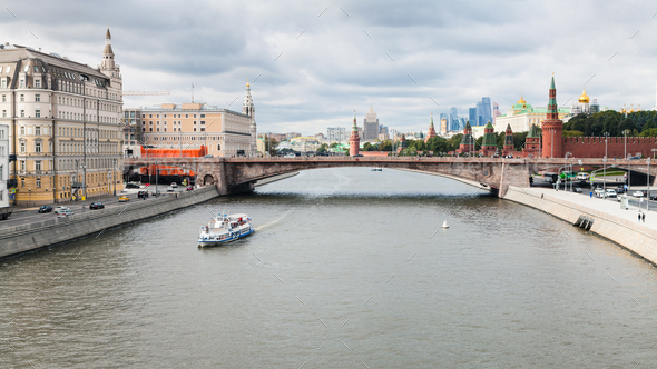Moscow skyline from Floating Bridge in Zaryadye - Stock Photo - Images