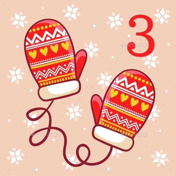 Warm Winter Mittens on a Beige Background - Christmas Seasons/Holidays