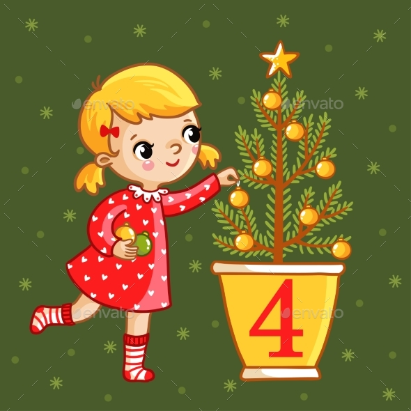 Girl Decorates a Christmas Tree - Christmas Seasons/Holidays
