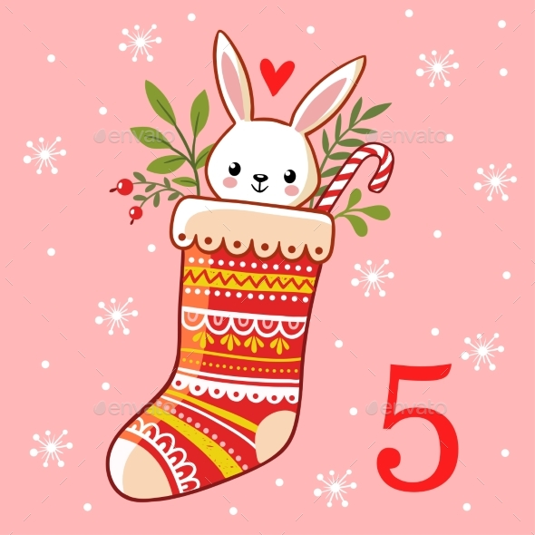 The Hare is Sitting in a Christmas Sock - Christmas Seasons/Holidays