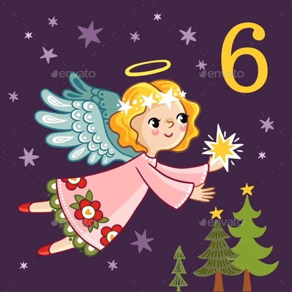 Angel Is Flying with a Star in Her Hands - Christmas Seasons/Holidays