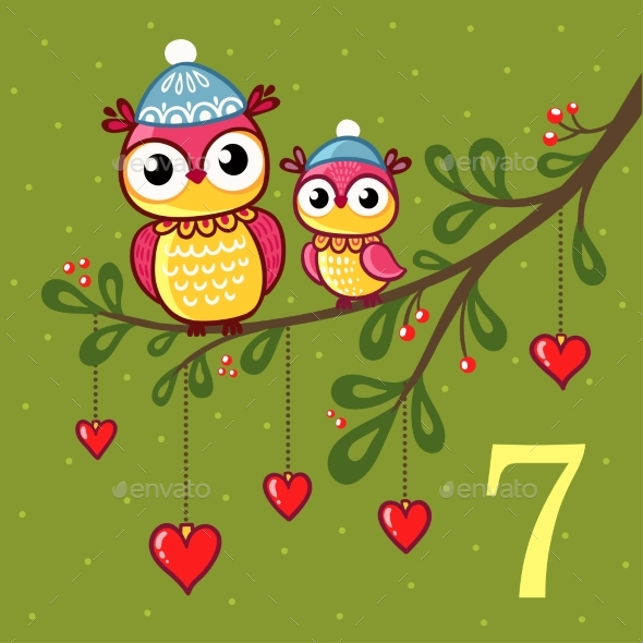 GraphicRiver Pair of Owls Sitting on a Branch 20674203