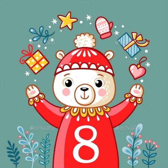 Christmas Polar Bear Juggles with Gifts - Christmas Seasons/Holidays