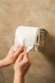 Hand pulling toilet paper roll in holder