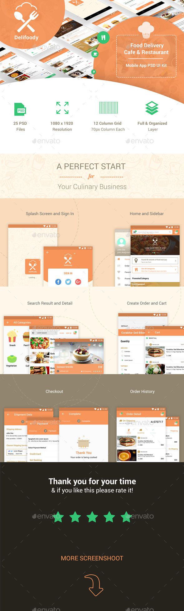 Delifoody | Food Delivery & Restaurant Mobile UI Kit - User Interfaces Web Elements