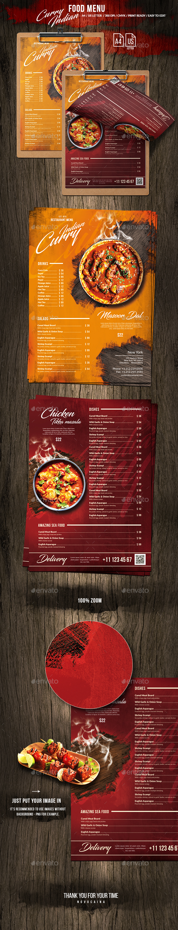 Curry Indian Single Page Food Menu US Letter & A4 - Food Menus Print Templates