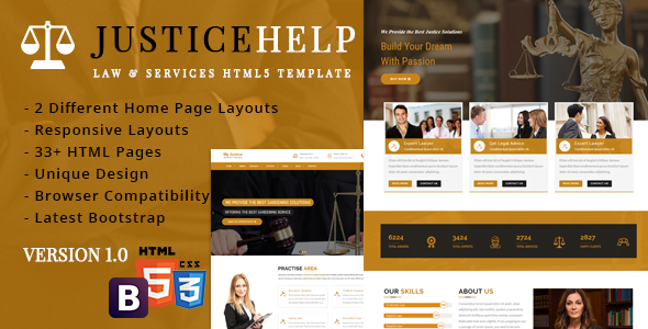 Download JusticeHelp - Law & Services Reasponsive Template