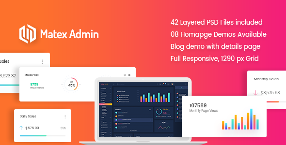 Matex admin - Material Bootstrap 4 Dashboard Template by CodePixar [20542122]