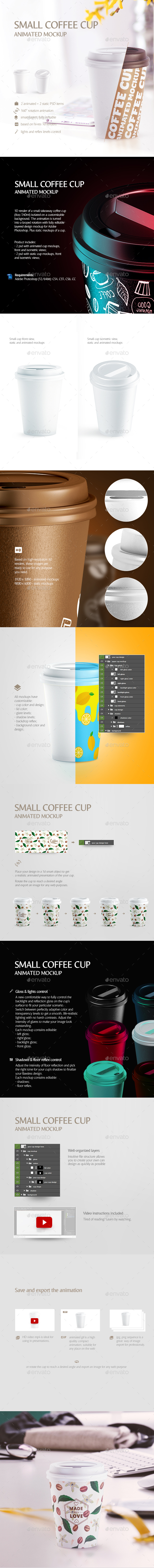 Small Coffee Cup Animated Mockup - Food and Drink Packaging