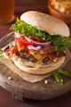 bacon cheese burger with beef patty tomato onion - PhotoDune Item for Sale