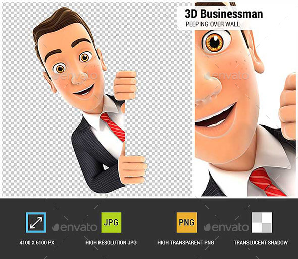 3D Businessman Peeping Over Blank Wall - Characters 3D Renders