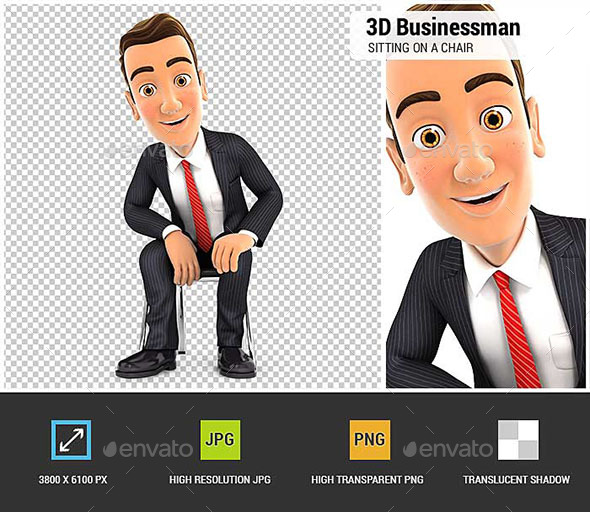 GraphicRiver 3D Businessman Sitting on a Chair 20675549