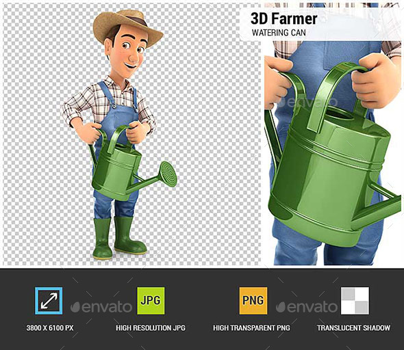 3D Farmer Holding Watering Can - Characters 3D Renders