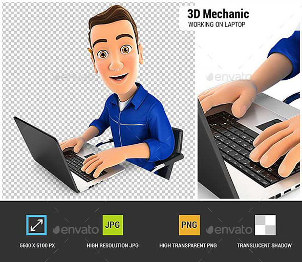 GraphicRiver 3D Mechanic Working on Laptop 20675578