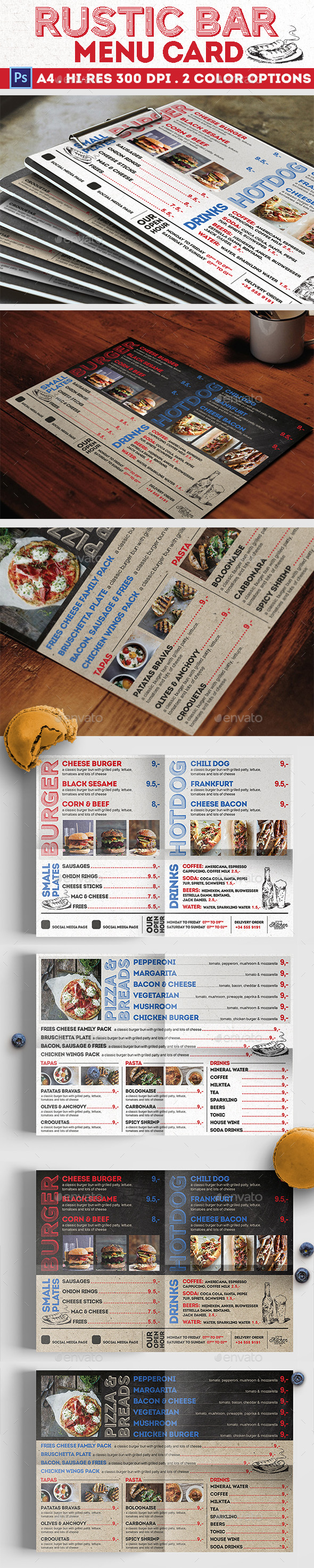 GraphicRiver Rustic Bar Menu Card 20675599