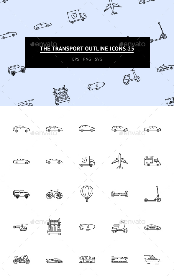 GraphicRiver The Transport Outline Icons 25 20675667