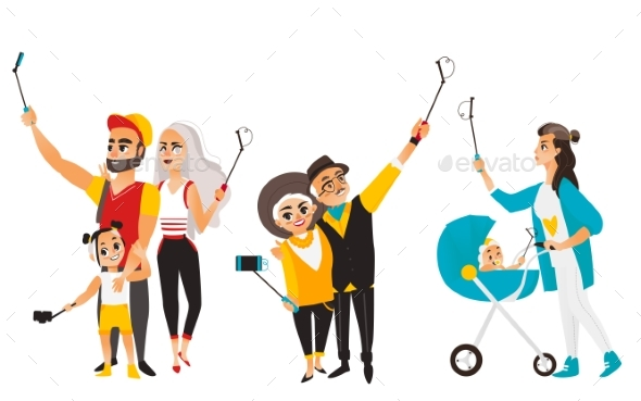 GraphicRiver Couple and Family All Making Selfie 20675770