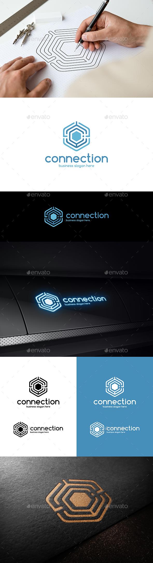 Connection Hexagon Technologies Logo - Letter C - Symbols Logo Templates