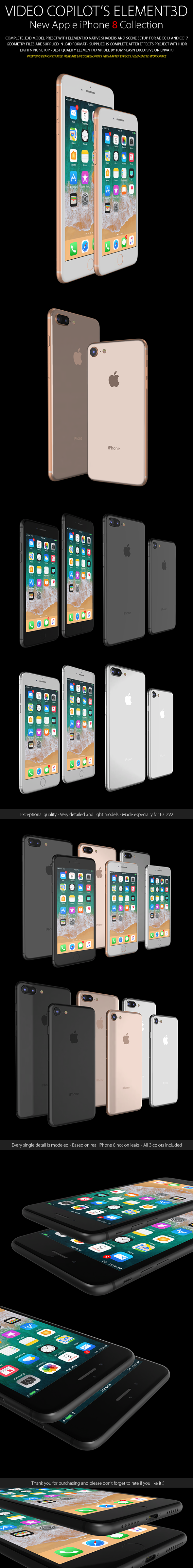 Element3D - iPhone 8 / 8 Plus Collection - 3DOcean Item for Sale