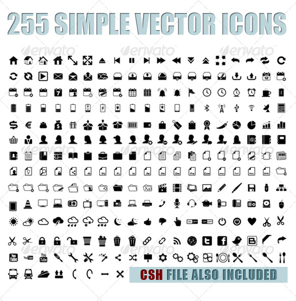 255 simple vector icons - Web Icons
