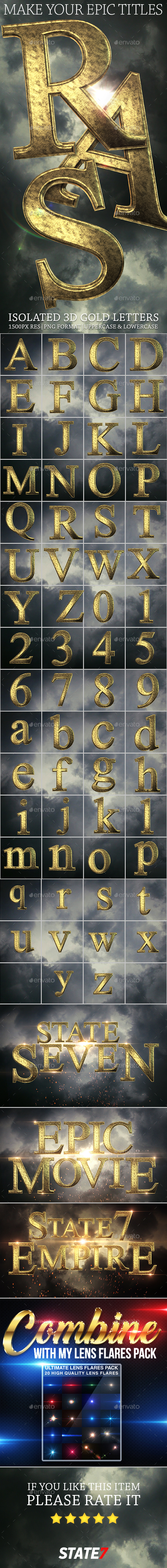 Isolated Gold Letters - Text 3D Renders