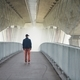 Man under highway brige in mysterious morning fog - PhotoDune Item for Sale