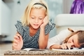 Girls writing homework