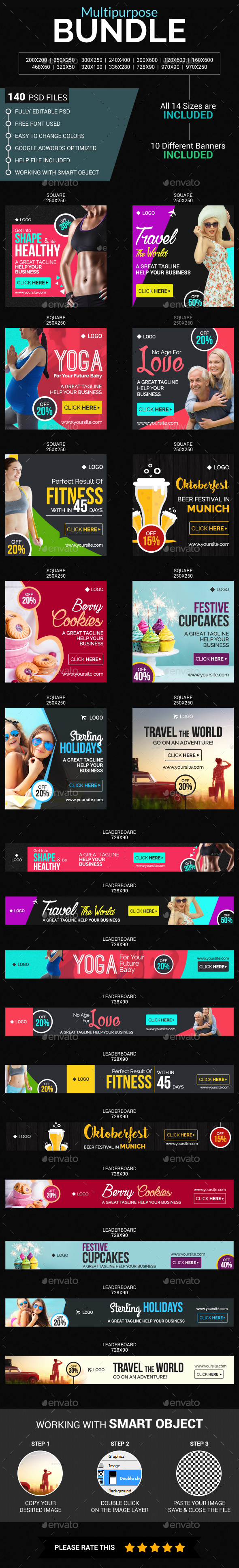 Multi Purpose Banner Bundle - Banners & Ads Web Elements