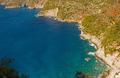 Aerial landscape of mediterranean sea and piece of Zakhyntos Island