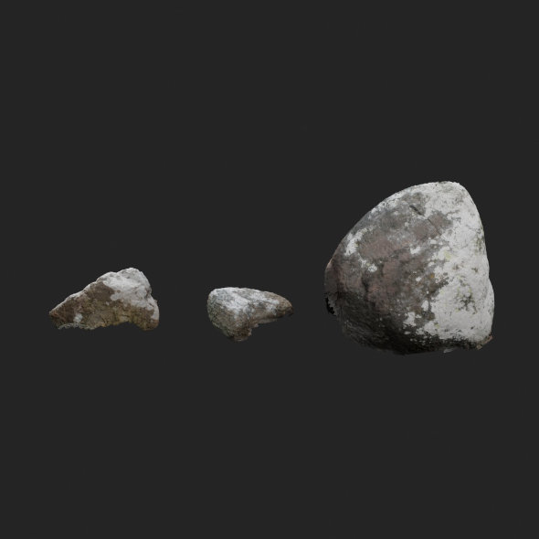 3d scanned stones 3 stones - 3DOcean Item for Sale