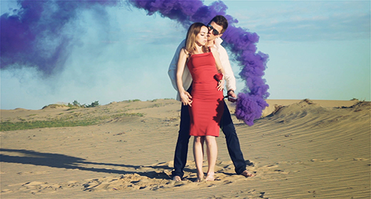 Lovers with Purple Smoke