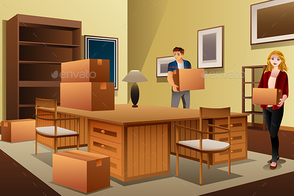 GraphicRiver Young Couple Carrying Boxes During House Moving 20676847