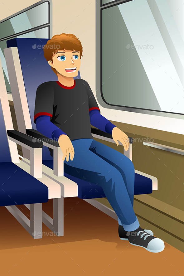 Young Man Sitting in a Bus or Train Illustration - People Characters