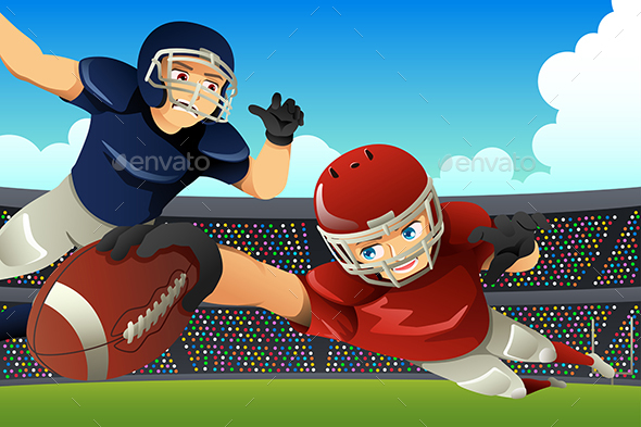 American Football Players Playing Football in a Stadium - People Characters