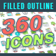 360 Filled Outline Icons - GraphicRiver Item for Sale