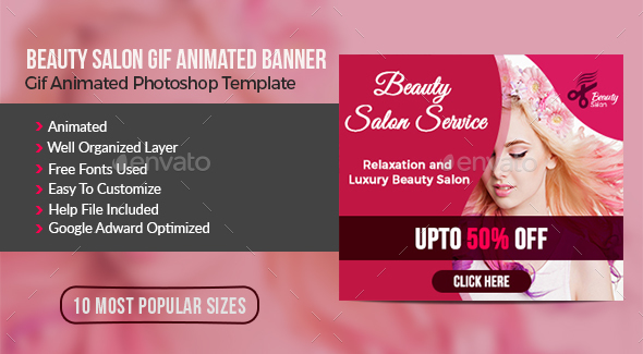 Beauty Salon Animated Gif Banner - Banners & Ads Web Elements