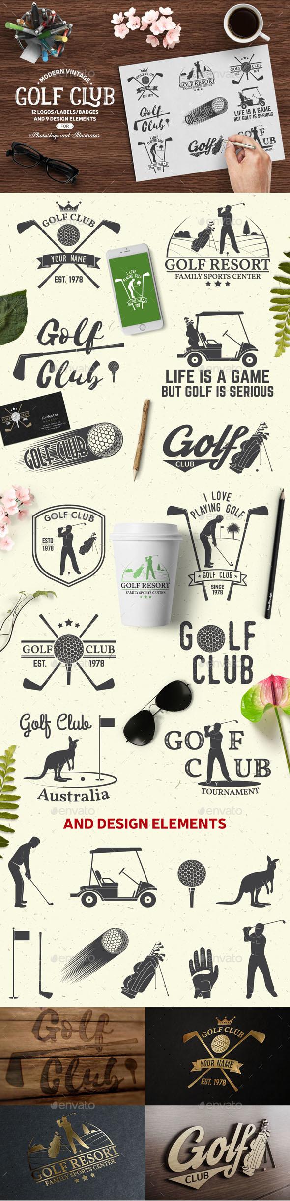 Golf Club - Badges & Stickers Web Elements