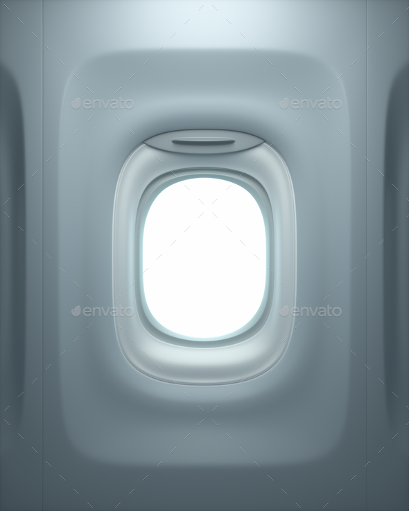 Airplane Window With Clipping Path - Stock Photo - Images