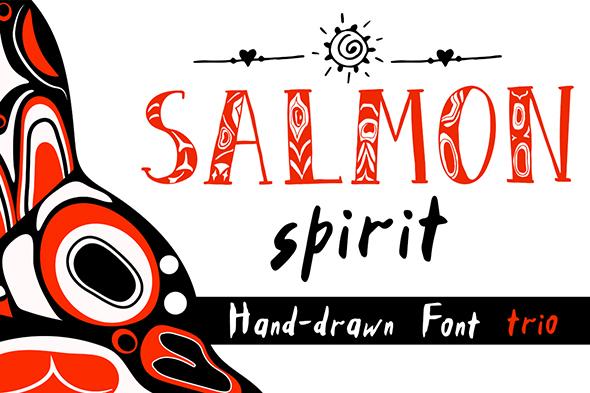 GraphicRiver Salmon Spirit Font Trio 20677259