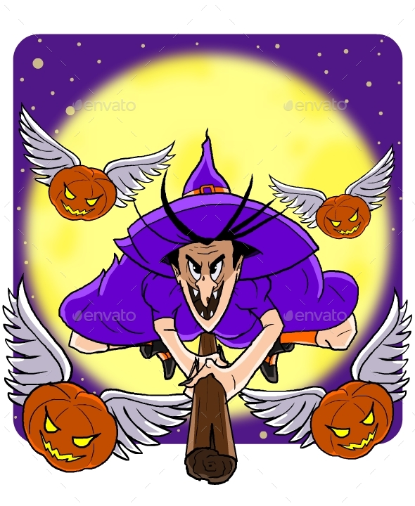 GraphicRiver Witch and Flying Pumpkins 20677303