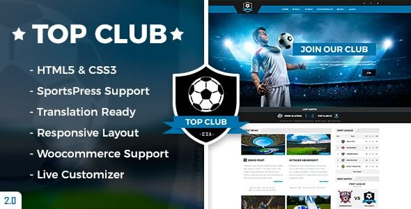 Top Club - Soccer and Football Sport Theme for WordPress