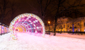 Entrance to the glowing decorative tunnel decorated for Christmas
