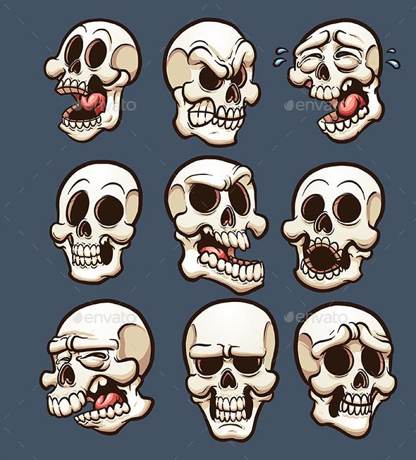 Cartoon Skulls - Halloween Seasons/Holidays