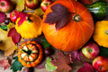 Red apples, pumpkins and colorful fall leaves, top view