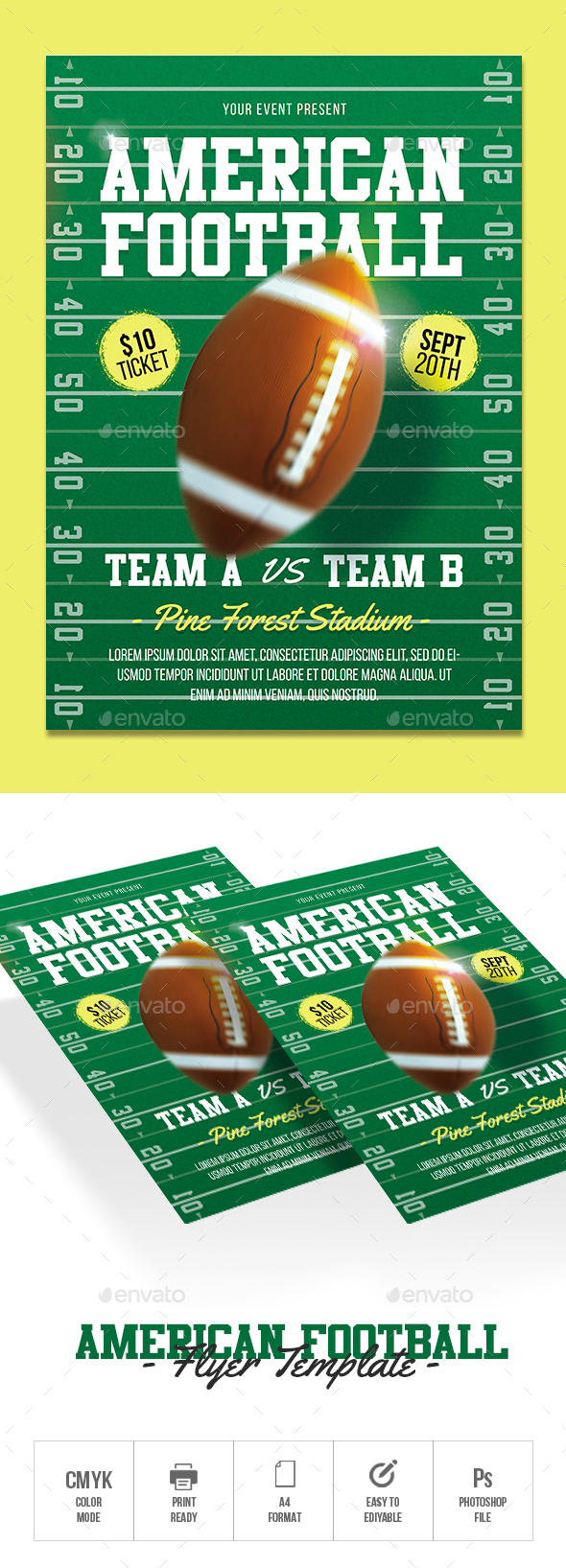 GraphicRiver American Football Flyer 20652167