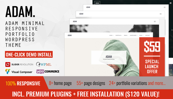 Image of ADAM - Minimal Responsive Portfolio WordPress Theme