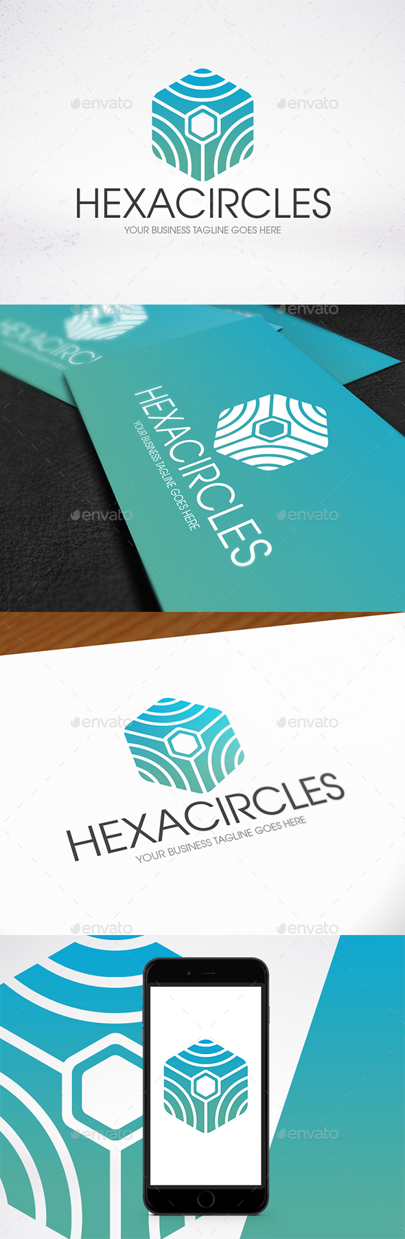 Circle Lines Hexagon Logo - Abstract Logo Templates