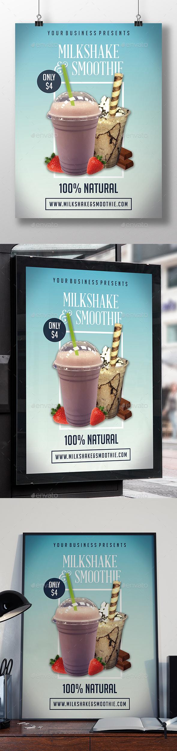 GraphicRiver Milkshake & Smoothie Flyer Template 20678561